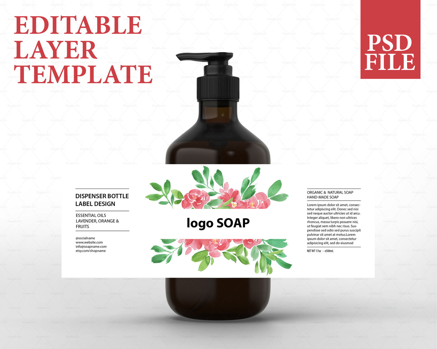 Soap label design, cosmetic label template, product packaging