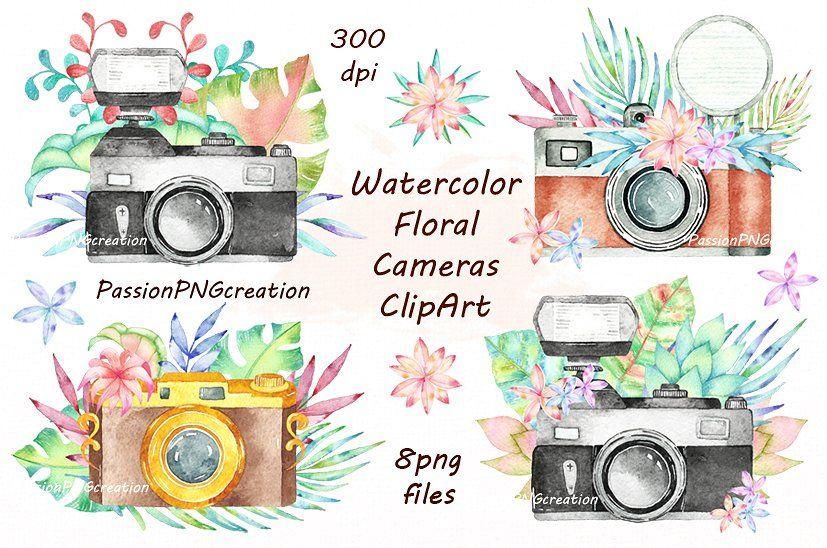 watercolor clipart retro clipart flower cameras clip art clipart watercolor floral cameras clipart instax mini clipart