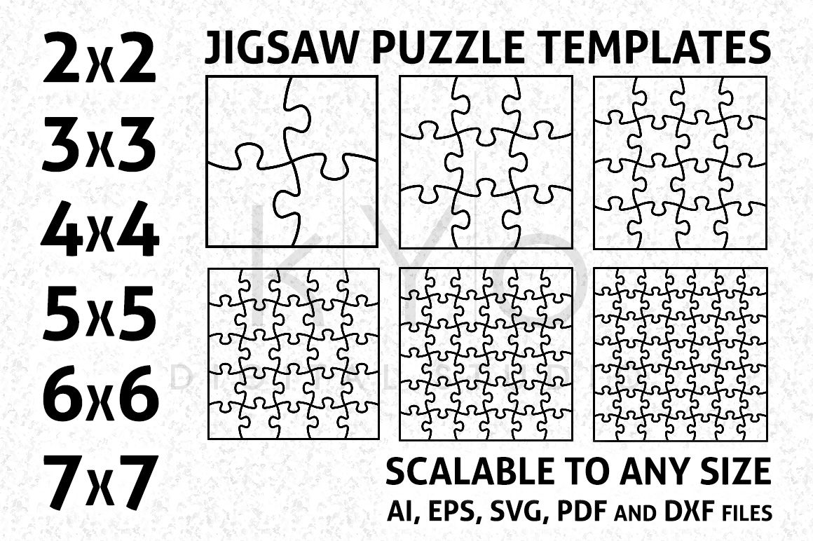 Square Jigsaw Puzzle Templates Ai Eps Svg Dxf Pdf Files By Kyo