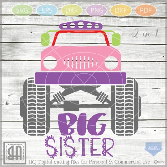 Monster Truck Big Sister Big Sister Svg Cut File Monster Truck Sv By Blueberry Hill Art Thehungryjpeg Com