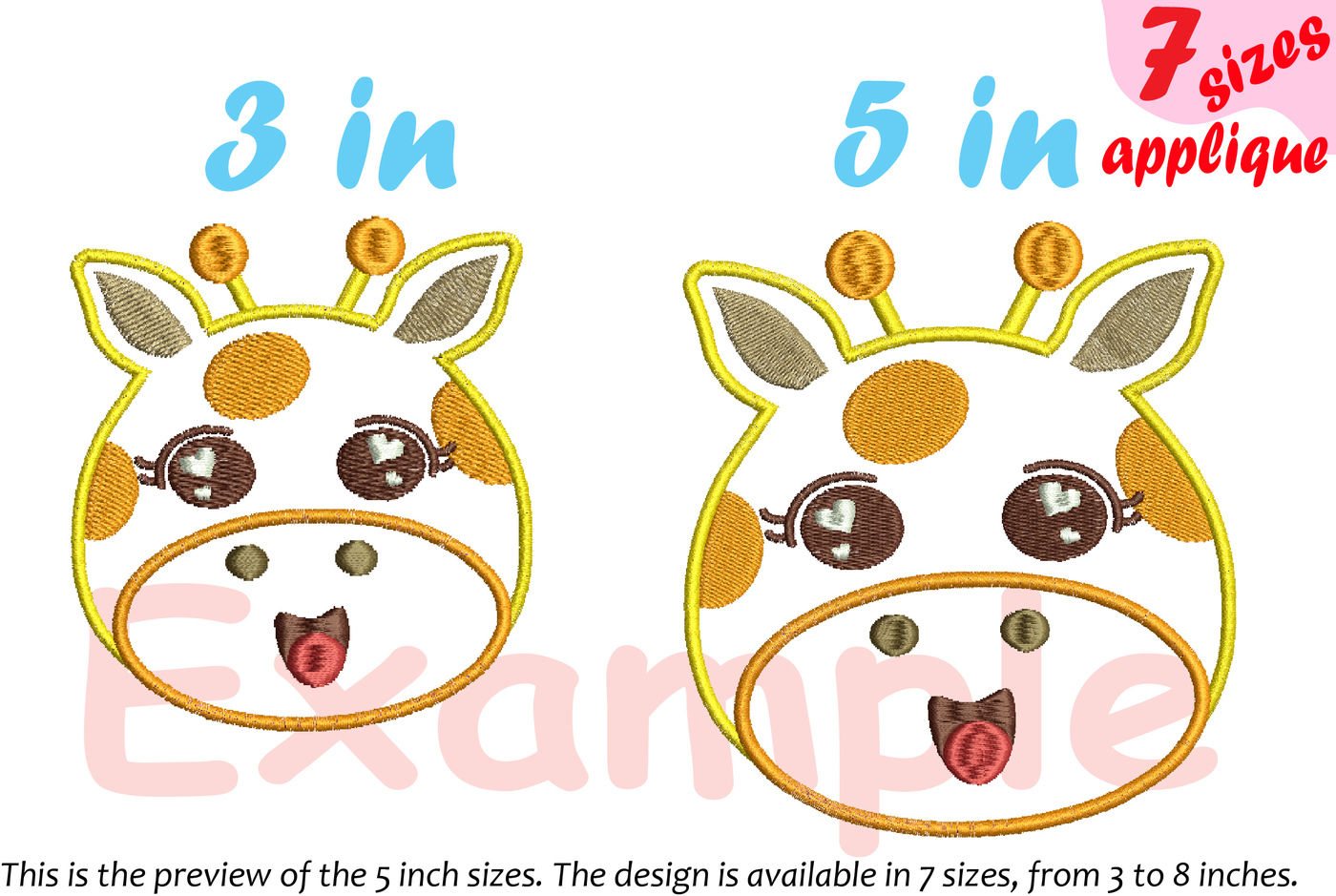 Baby Giraffe Applique Designs For Embroidery Machine Instant
