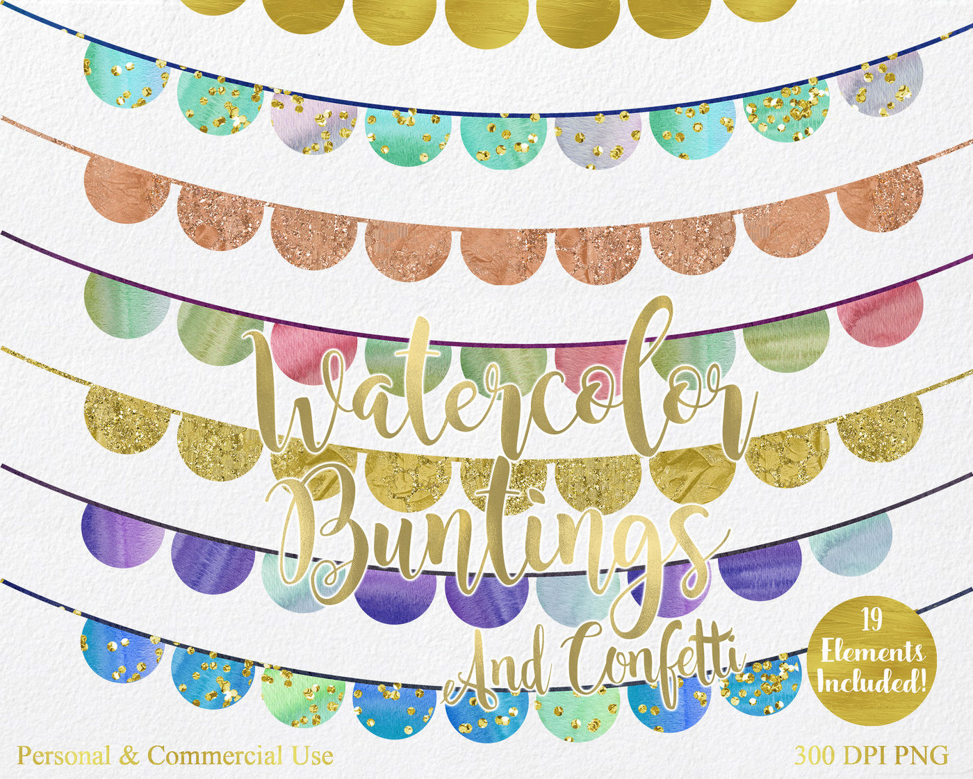 Watercolor Rainbow Bunting Banner Clipart By ClipartBrat ...