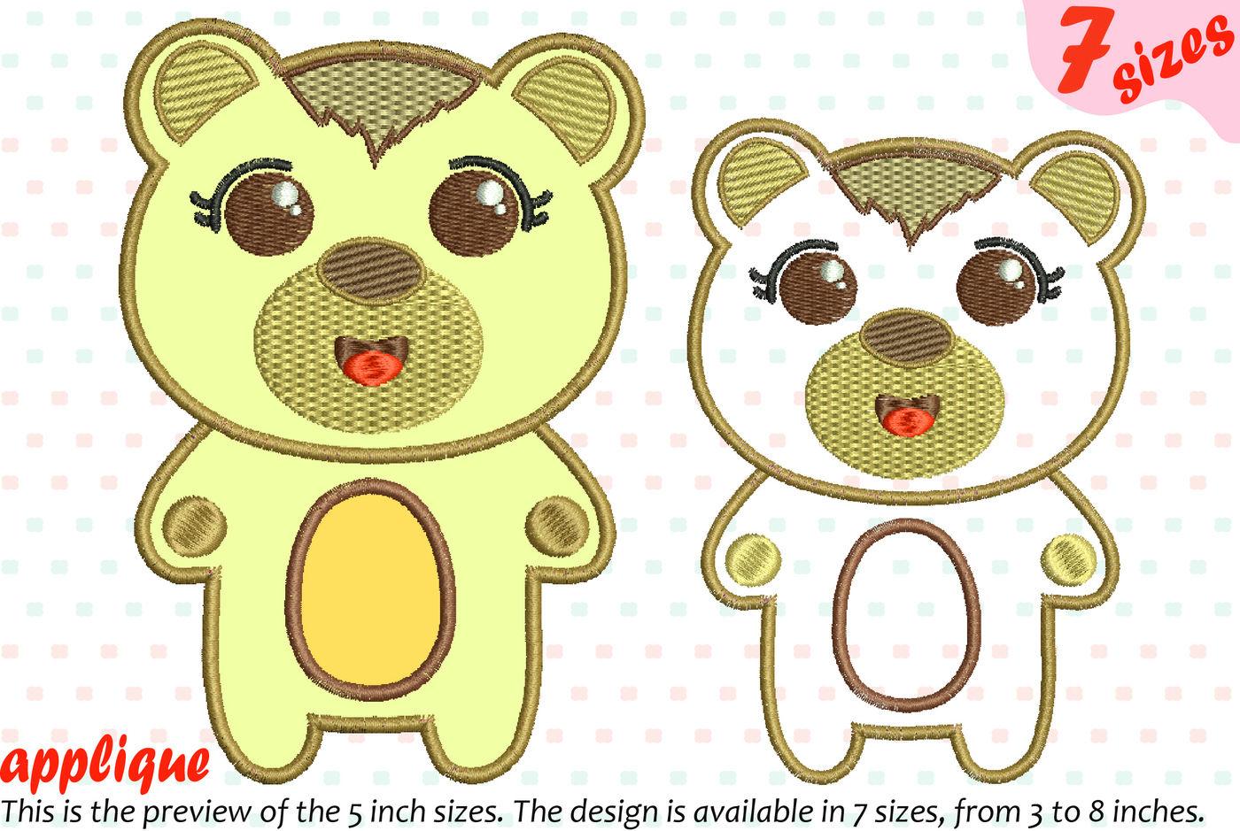 Cute Bear Applique Designs For Embroidery 16a By Hamhamart Thehungryjpeg Com