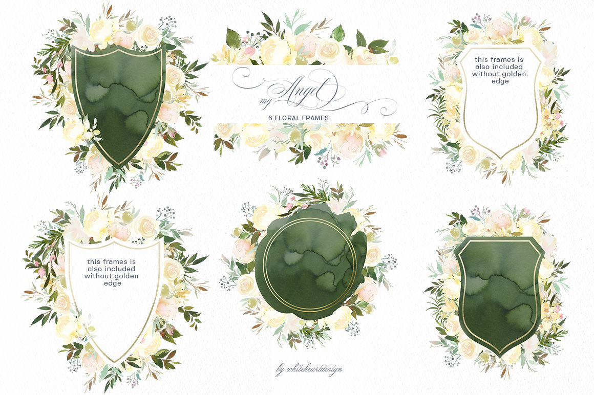 Vanilla White Watercolor Flowers Roses Peonies Greenery Clipart By