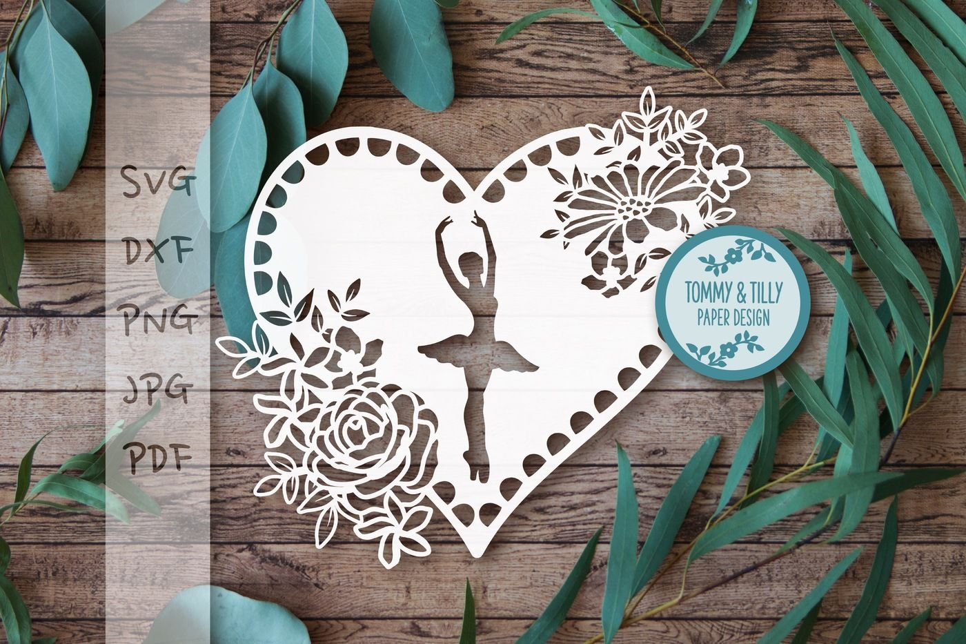 Ballerina Hearts X 2 Cutting Files Svg Dxf Pdf Png By Tommy And