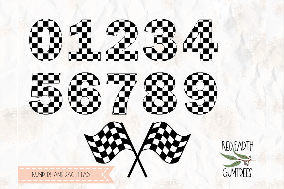 Checkered Numbers Race Flag Svg Png Dxf Pdf For Cricut Cameo