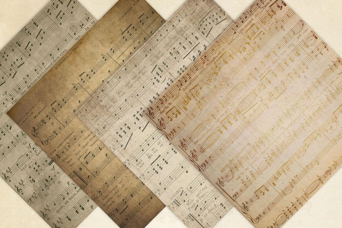 Vintage Sheet Music Digital Paper By Leska's Digitals