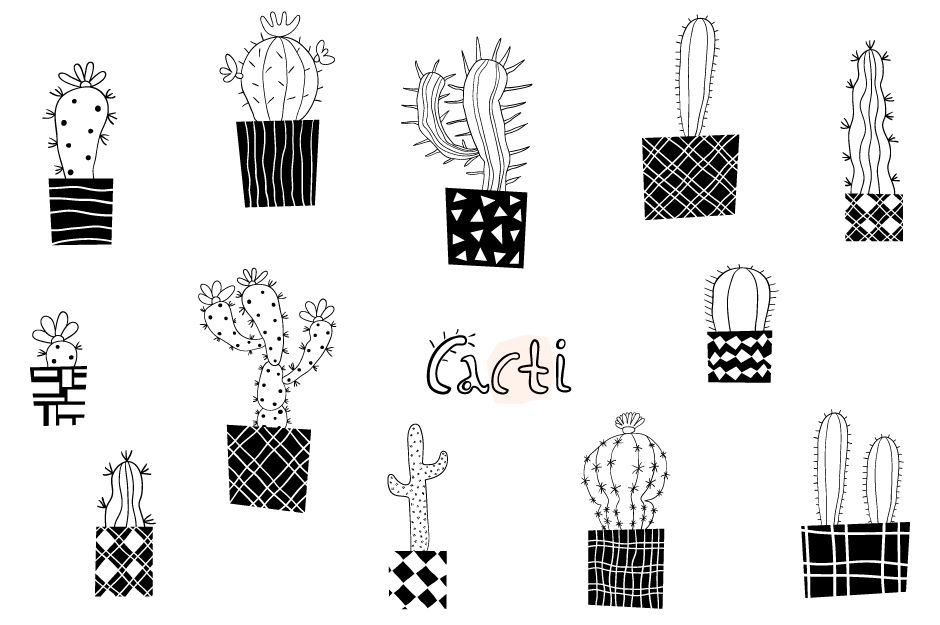 Cactus modern. Cute clipart black and