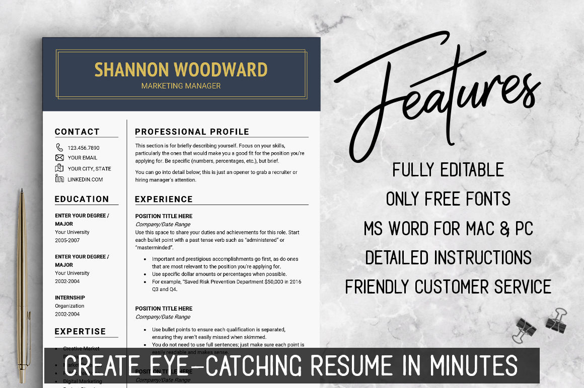 Professional Resume Template Cv Template Resume Templates Design