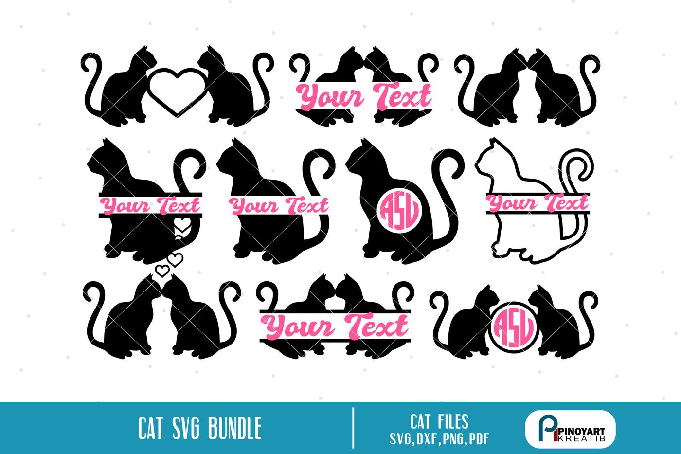 Cat Svg Cat Monogram Cat Svg Cat Svg For Cricut Cat Svg For