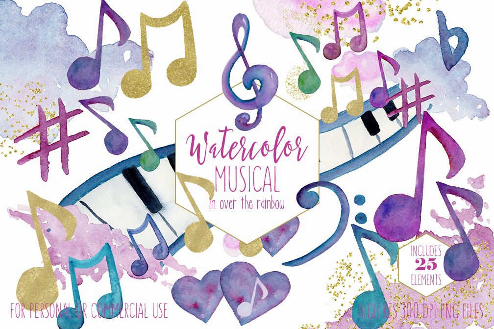 Rainbow Watercolor Music Notes Musical Clipart By Clipartbrat Thehungryjpeg Com