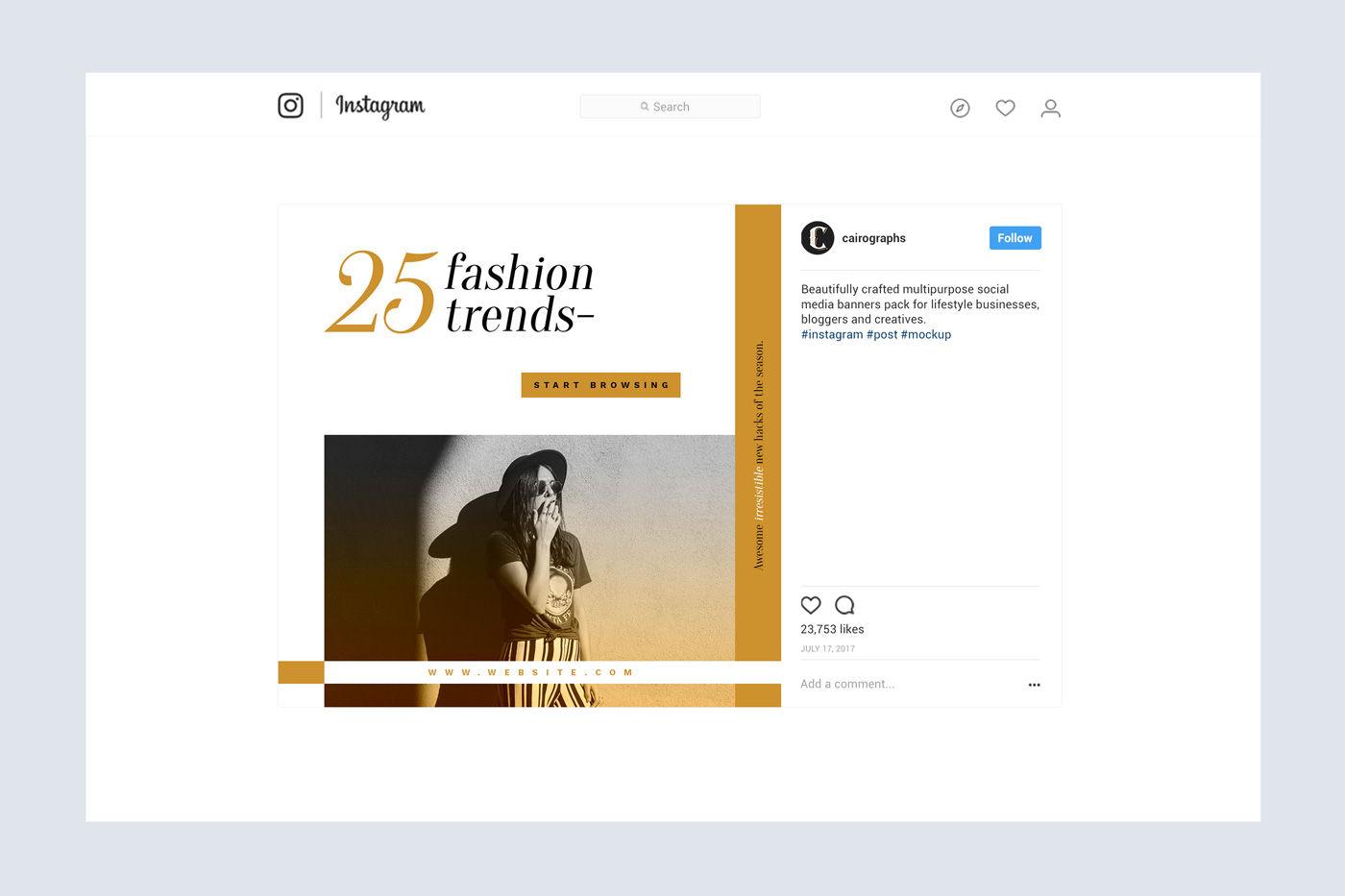 Instagram Page Mockup Psd