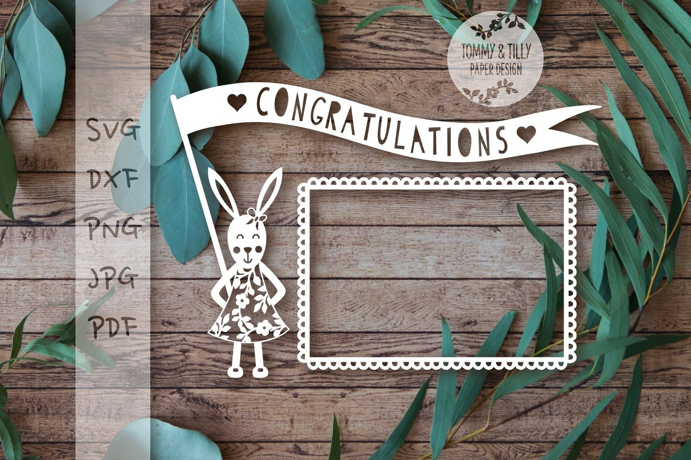 Bunny Holding Banner Cutting File Svg Dxf Png Pdf Jpg By Tommy And