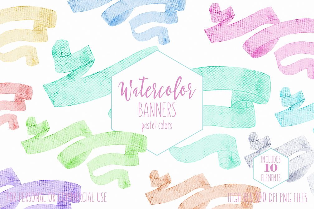 Pastel Watercolor Ribbon Banners By Clipartbrat Thehungryjpeg Com