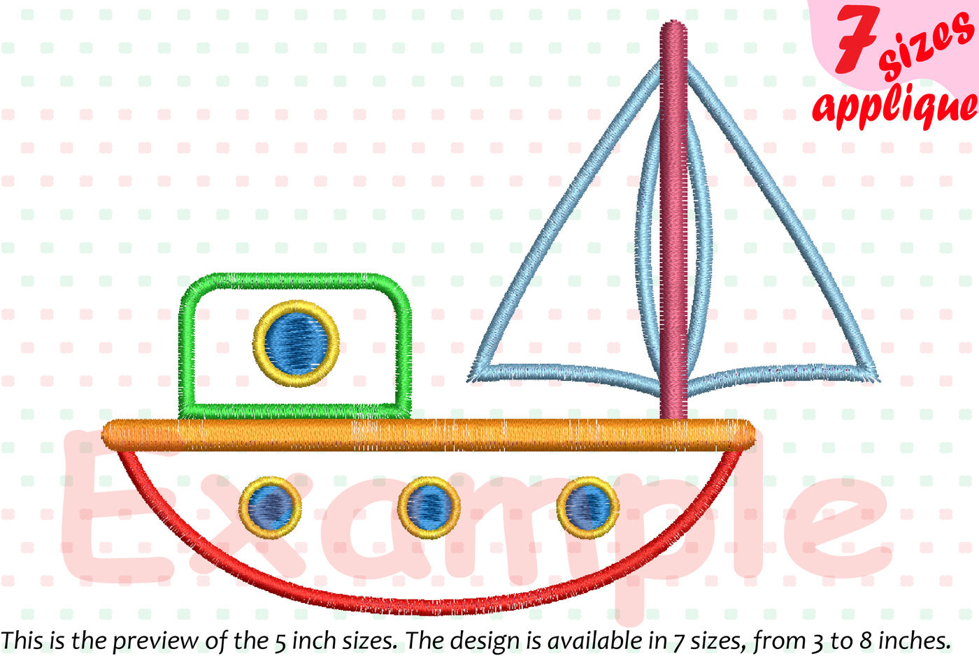 Sailboat Toy Applique Designs For Embroidery Boat Toys Yacht Ship