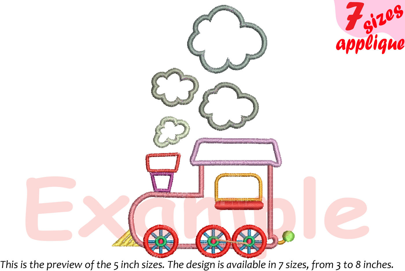Train Toy Applique Designs For Embroidery Outline 20a By Hamhamart