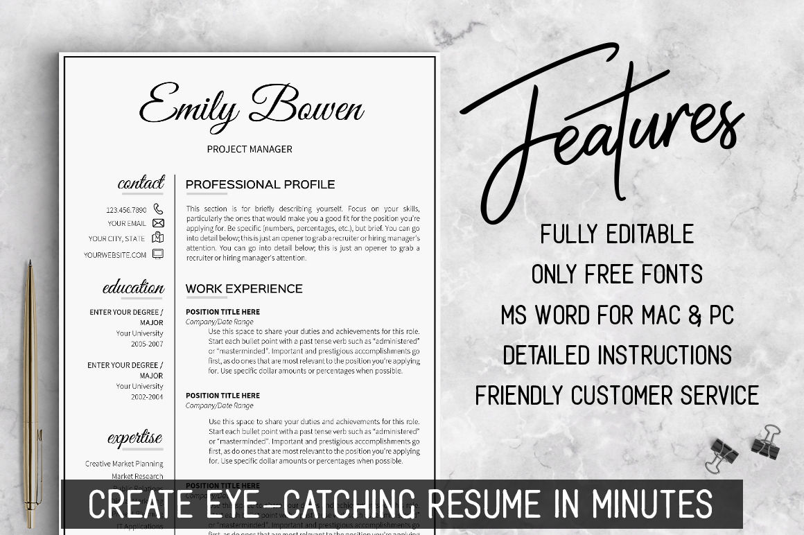 2 Page Resume Template Job Resume Word Template Resume With Icons