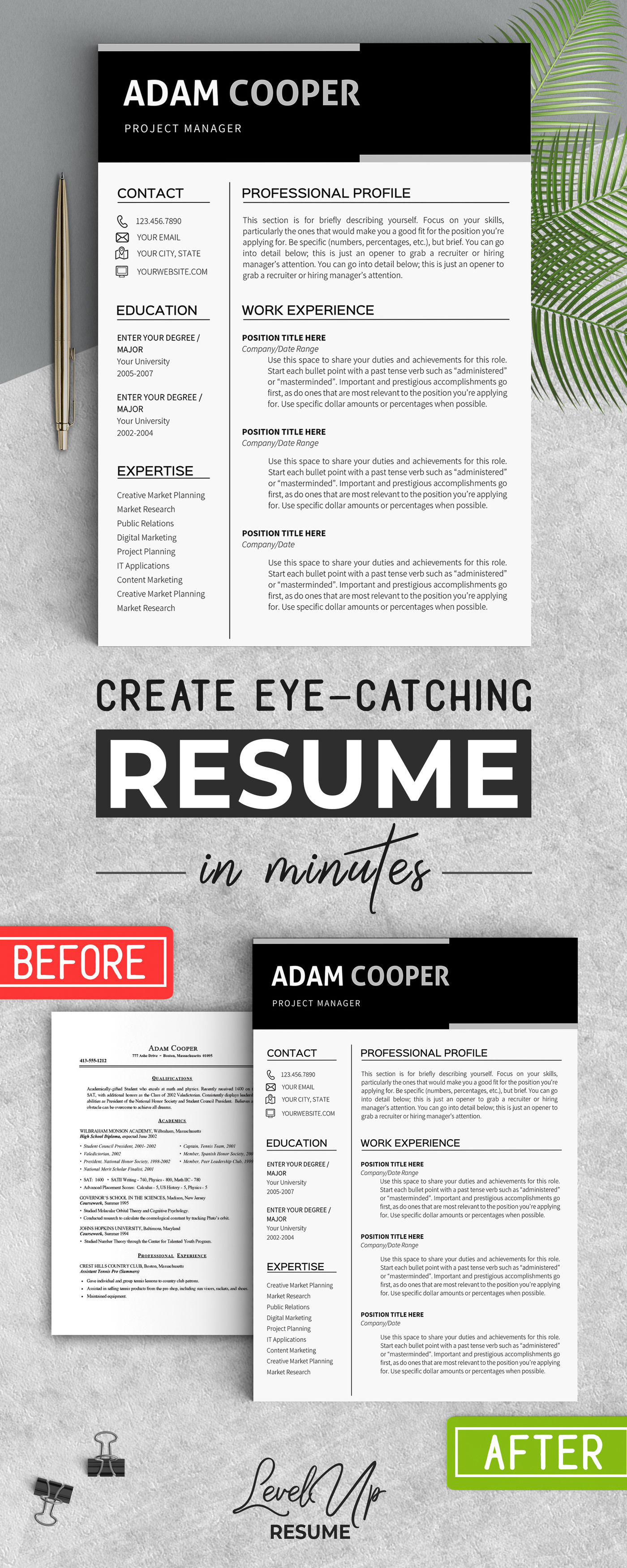 Resume Template Instant Download Clean Resume Templates