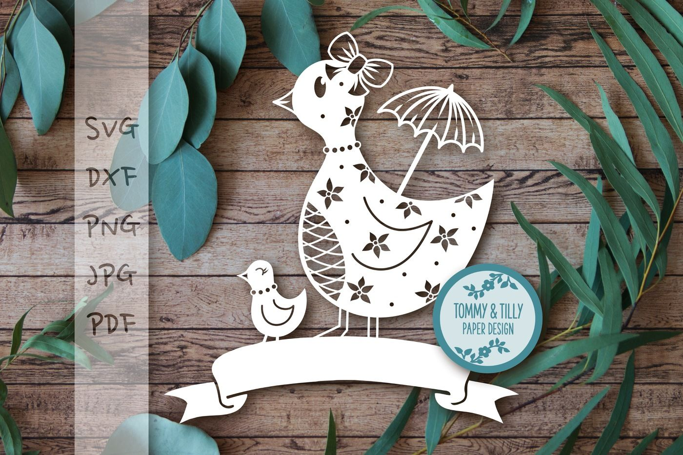 Mummy And Baby Duck With Banner Svg Dxf Png Pdf Jpg By Tommy And