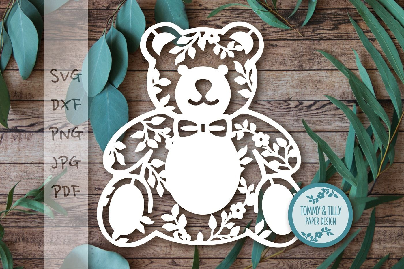 Teddy Bear X 3 Svg Dxf Png Pdf Jpg By Tommy And Tilly Design