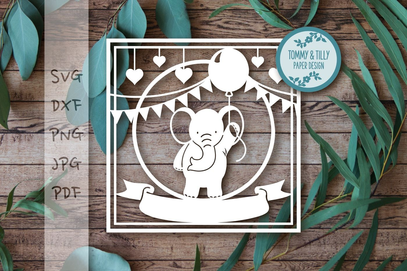 Square Elephant X 2 Svg Dxf Png Pdf Jpg By Tommy And Tilly Design