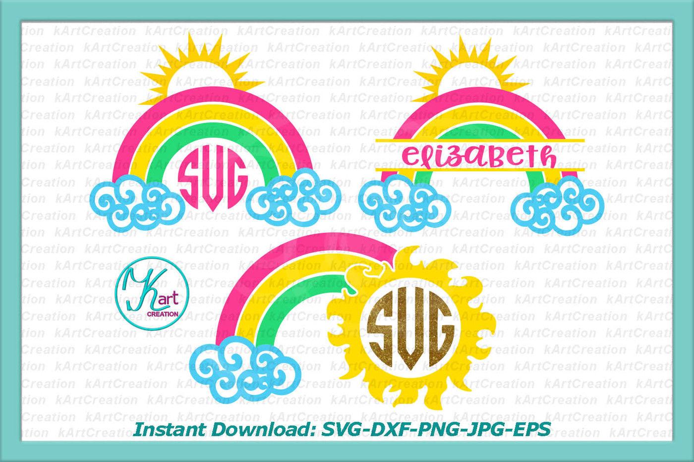 Rainbow Monogram Svg Rainbow Split Monogram Svg Sun Monogram Svg