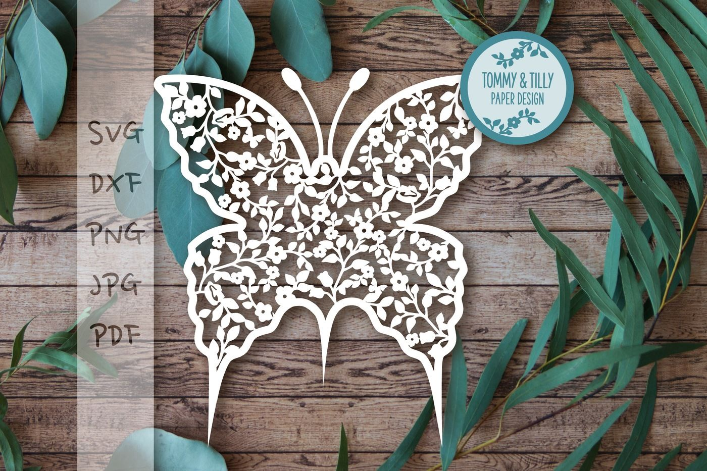 Vintage Flower Butterfly Svg Dxf Png Pdf Jpg By Tommy And Tilly