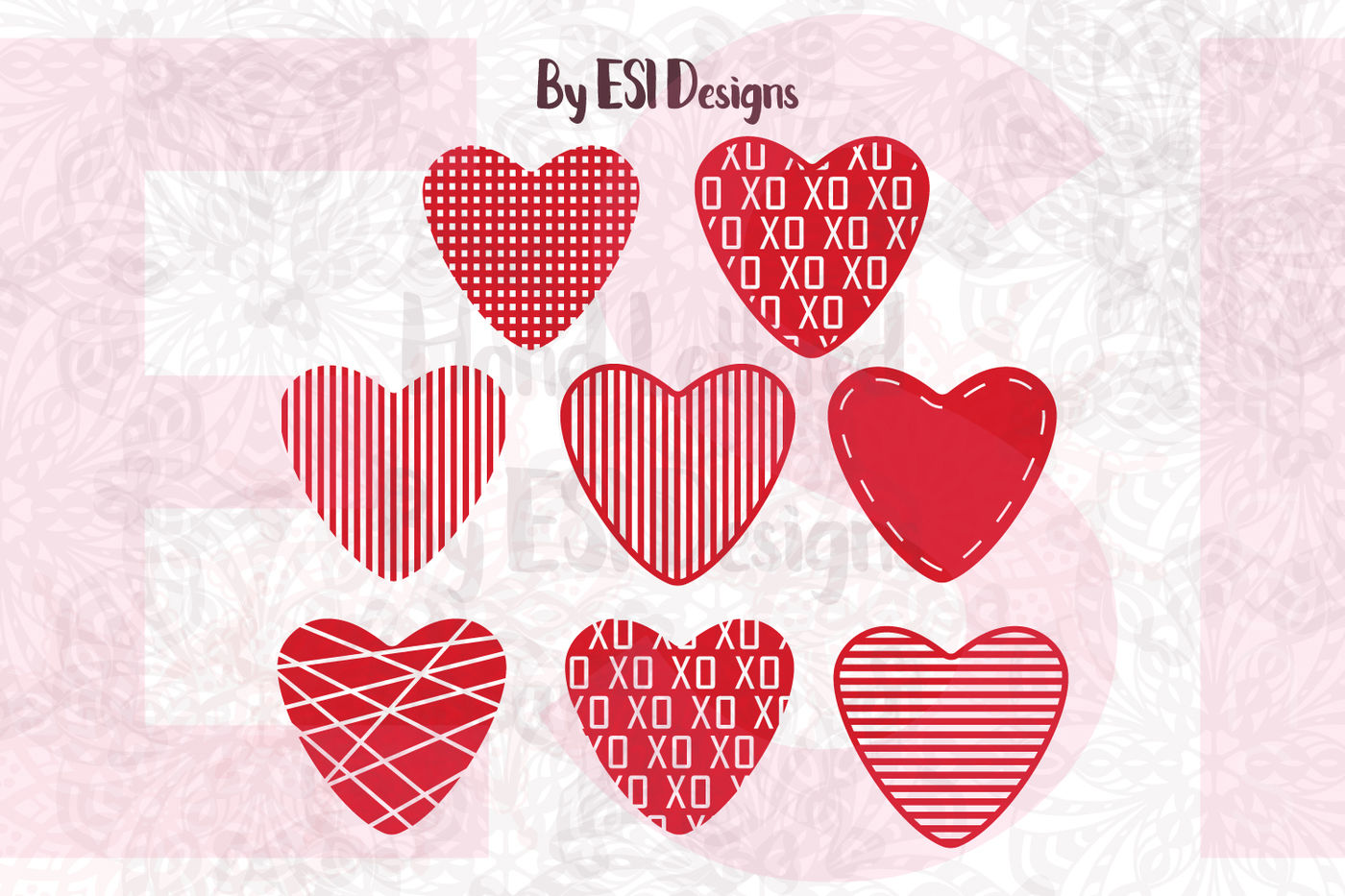 Love Heart Valentines Design Set Svg Dxf Eps Png By Esi