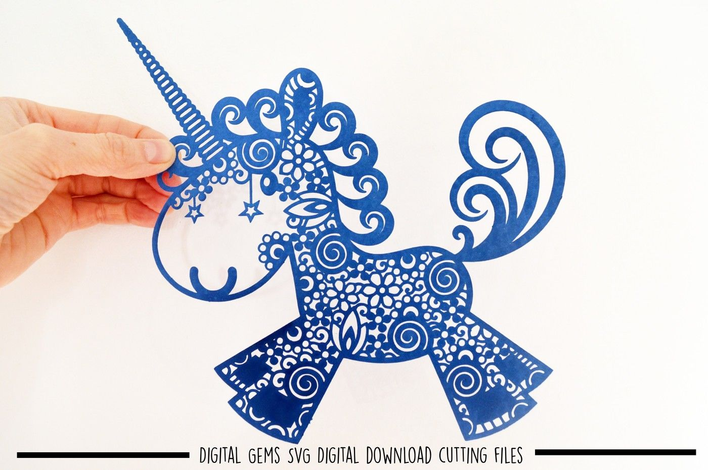 Unicorn Paper Cut Svg Dxf Eps Files By Digital Gems