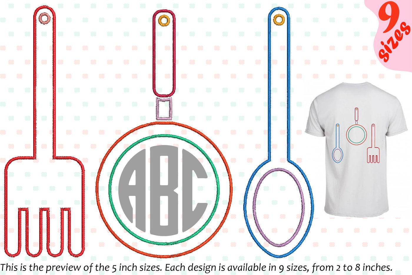 Outline Kitchen Embroidery Design Chef Utensils Fork Spoon