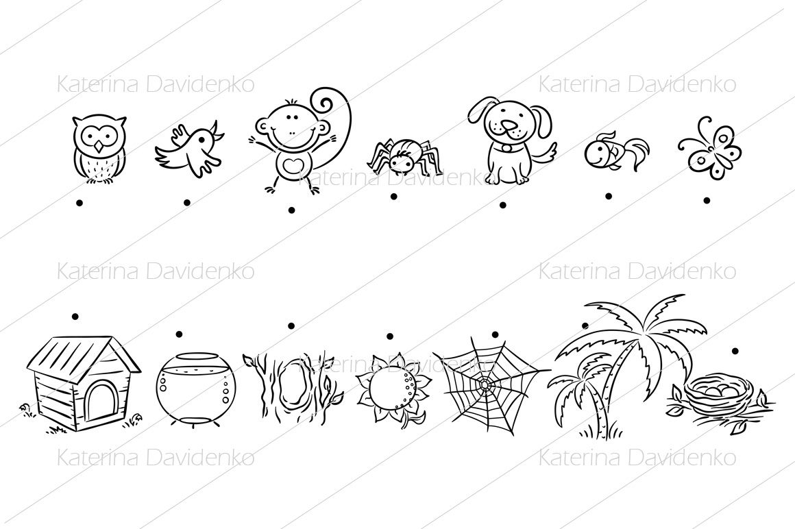 Animals and their homes matching game By Optimistic Kids Art