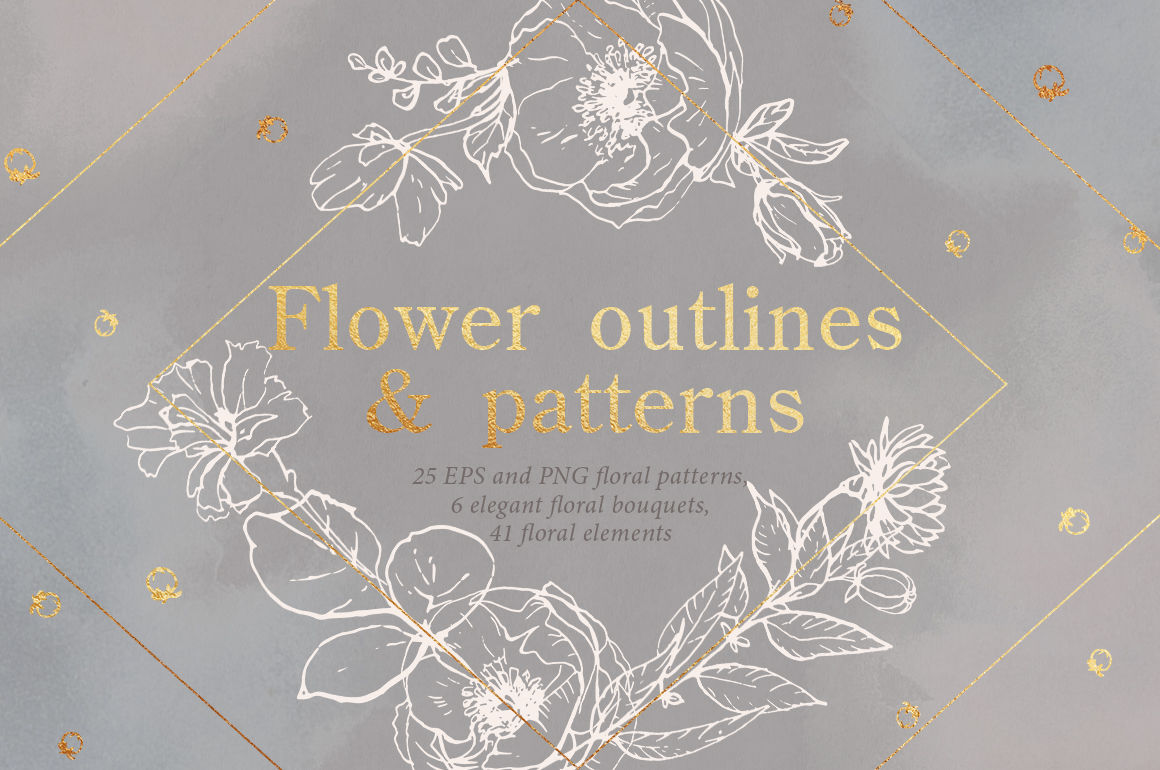 Flower outlines & patterns By Pamyatka | TheHungryJPEG com
