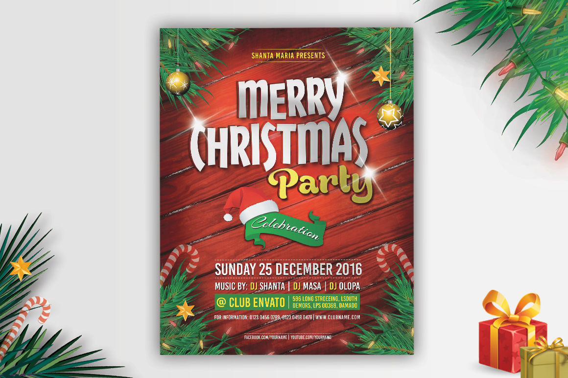 Christmas Party Invitation Flyer By Themedevisers Thehungryjpeg Com