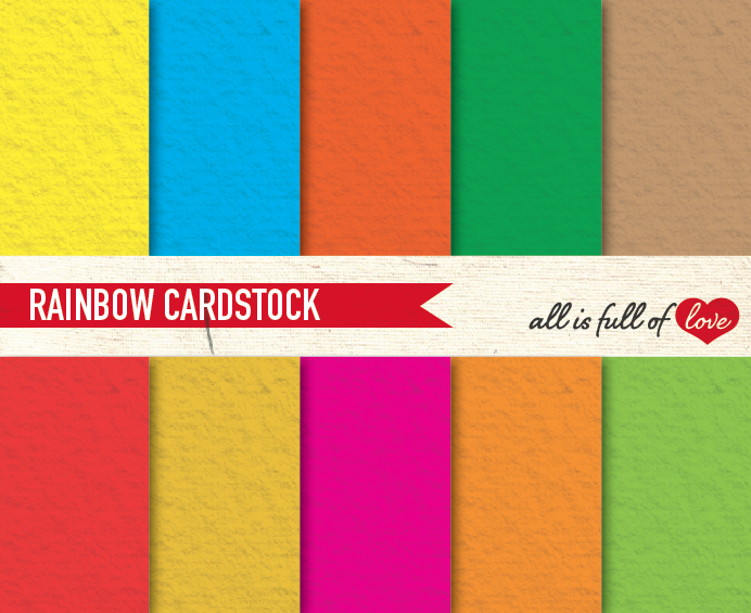 Rainbow Card Stock Texture Digital Paper Pack By All Is Full Of