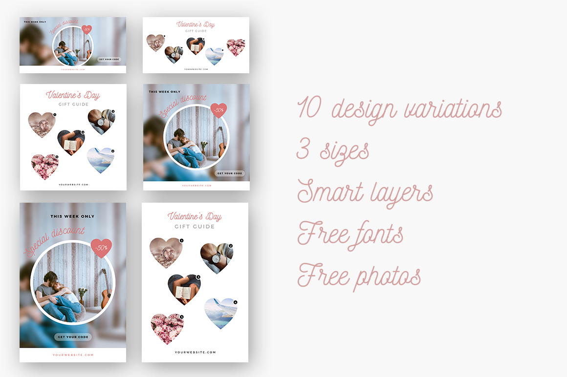 Romantic Social Media Pack By Graphica Studio Thehungryjpeg Com