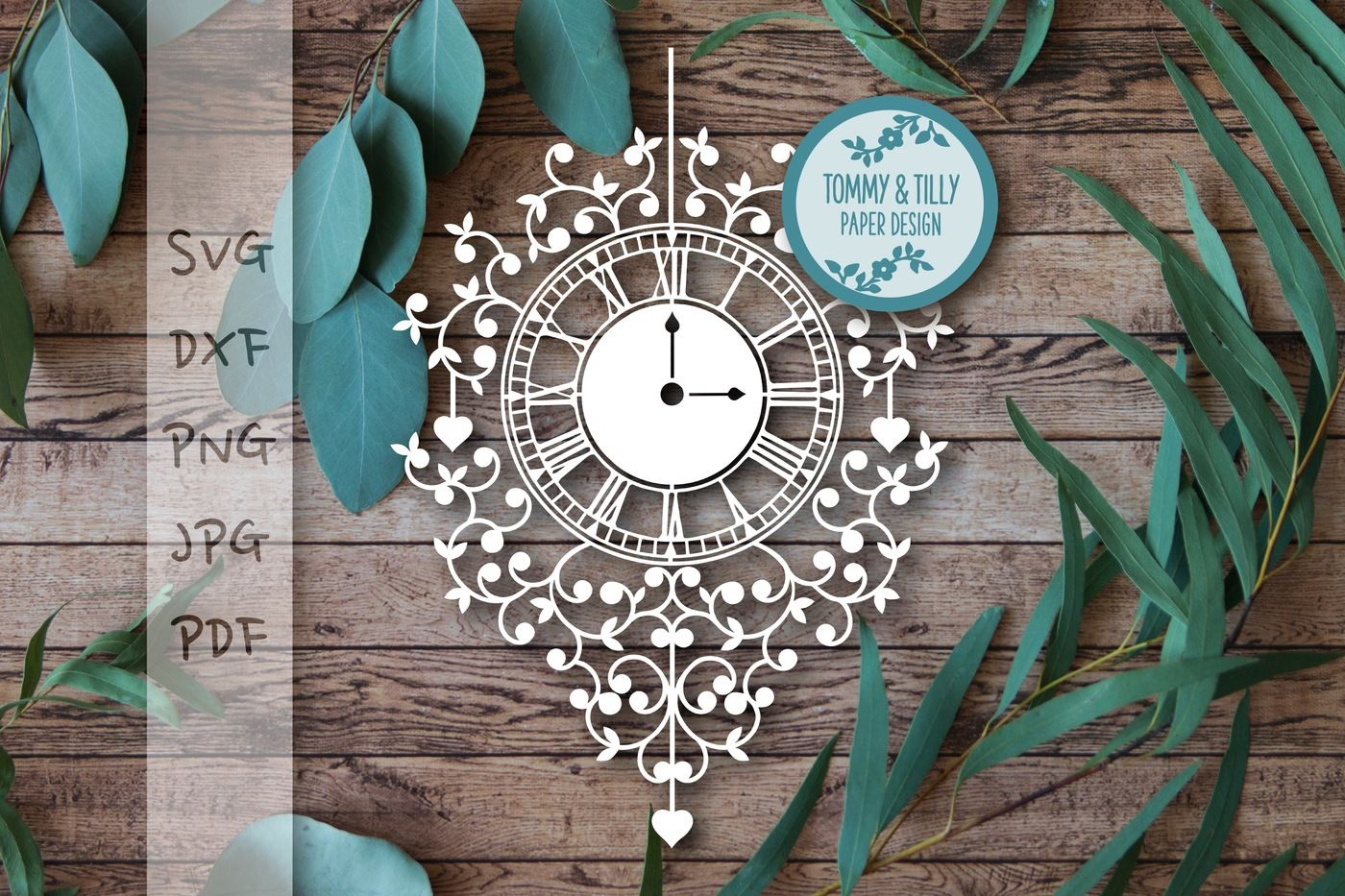 Clock SVG DXF PNG PDF JPG By Tommy and Tilly Design