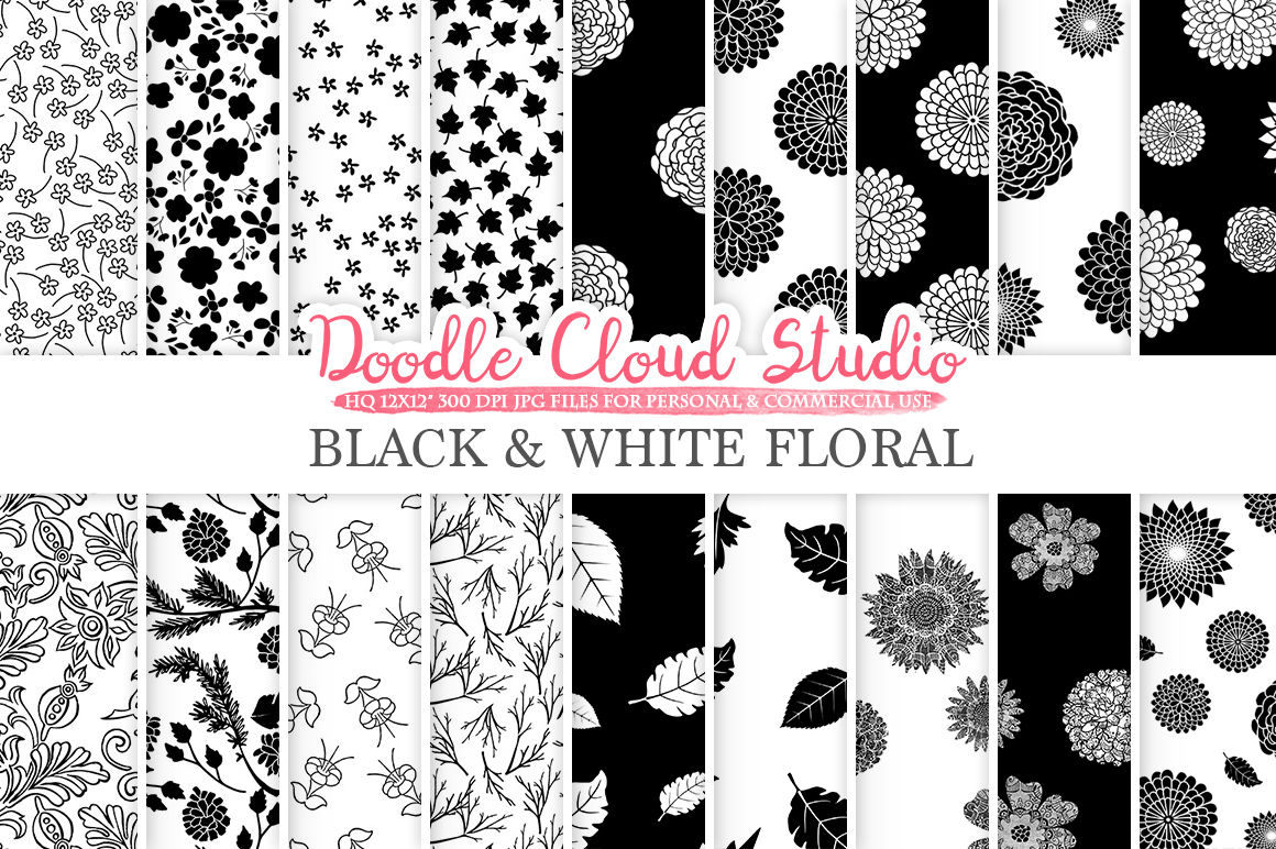 Black And White Floral Digital Paper Floral Patterns By Doodle