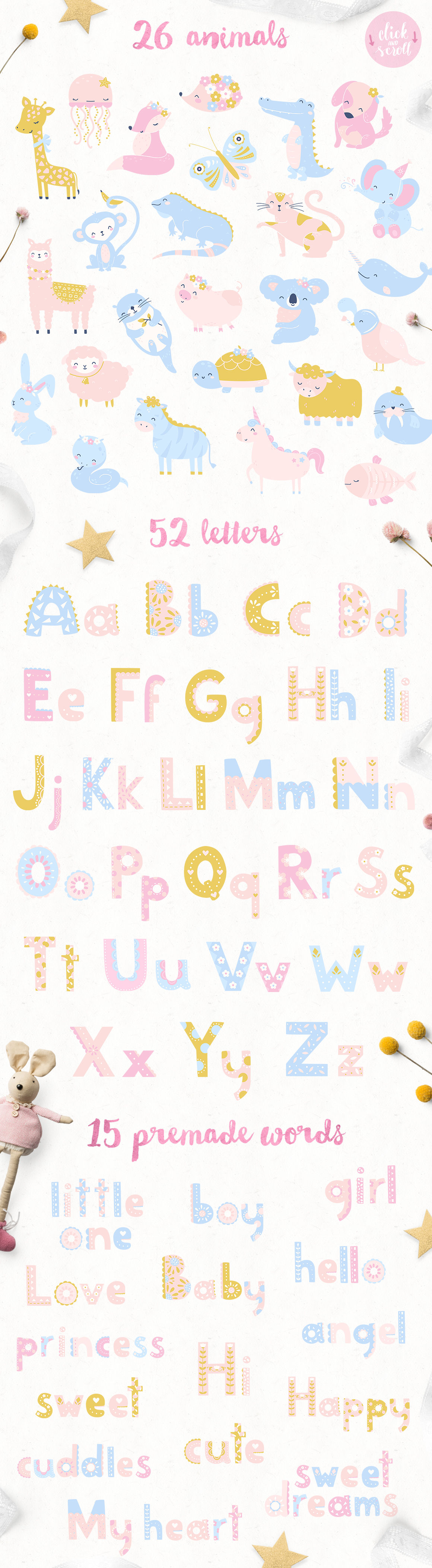 Animal Alphabet Cute Baby Patterns By Inna Moreva