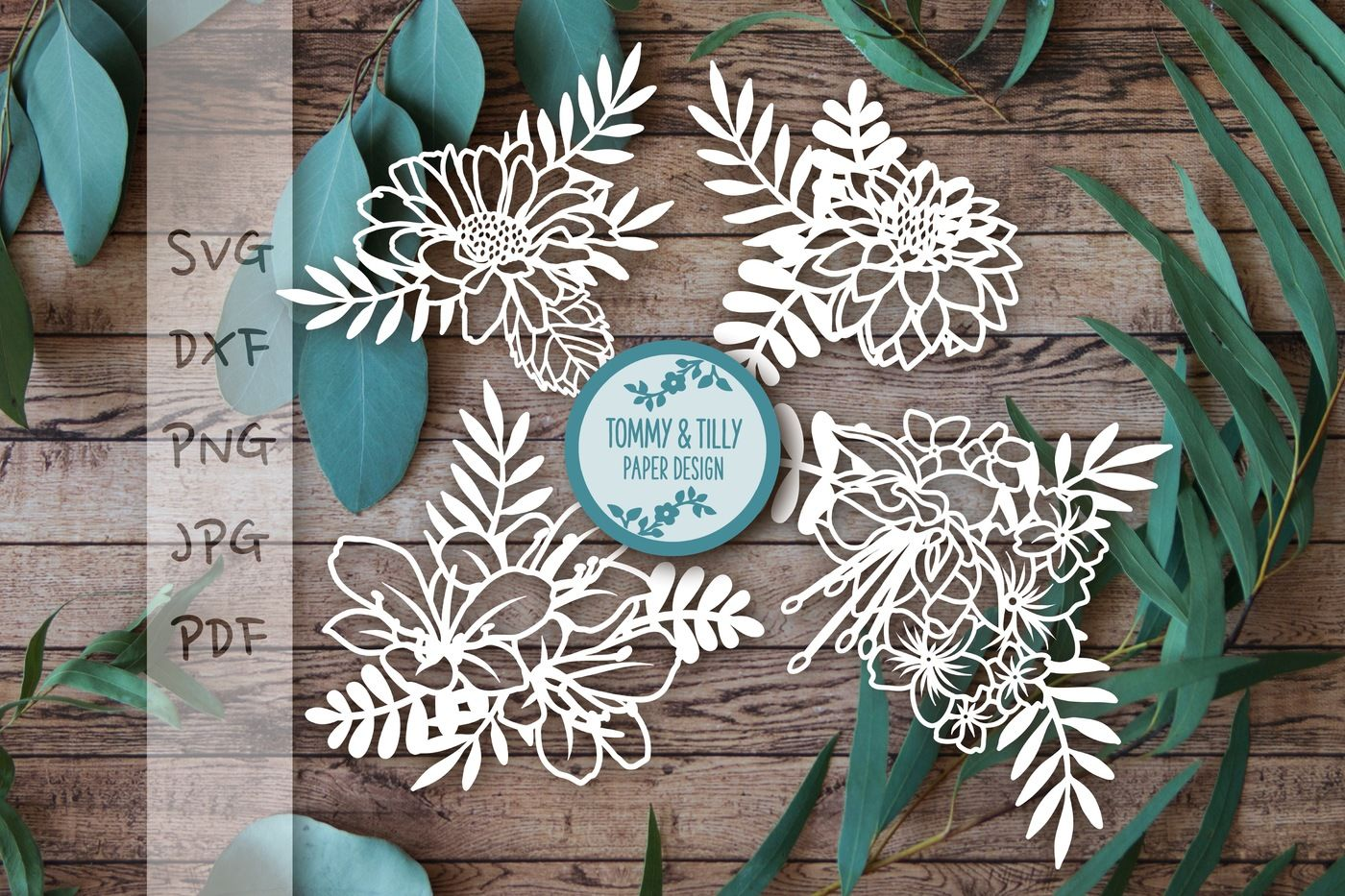 Flowers X 4 Svg Dxf Png Pdf Jpg By Tommy And Tilly Design