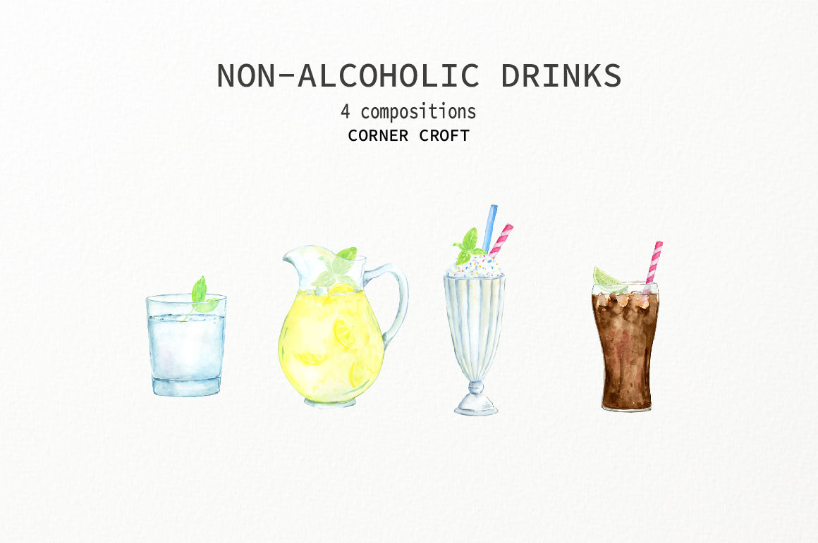 Watercolor Non Alcoholic Drinks By Cornercroft Thehungryjpeg Com