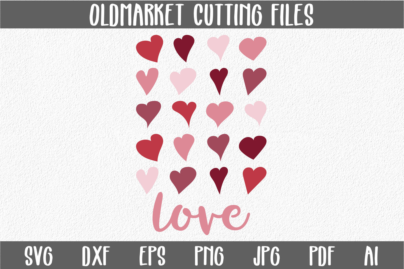 Love With Hearts Svg Cut File Valentine Svg Dxf Png Jpeg