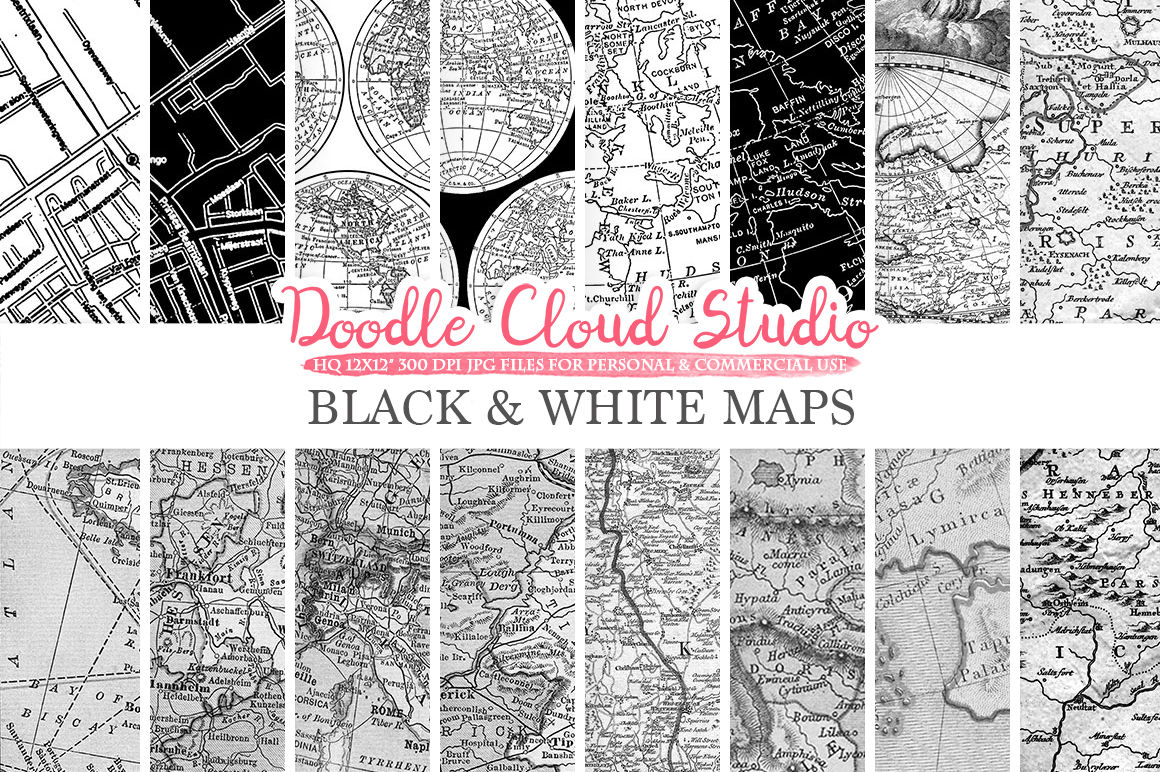 Black and White Maps digital paper, Monocrome Vintage Map Textures on