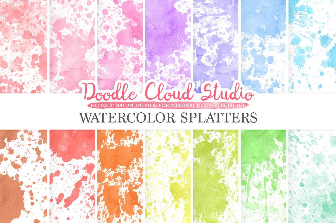 Paint Splatter Digital Paper Watercolor Painted Rainbow Paint