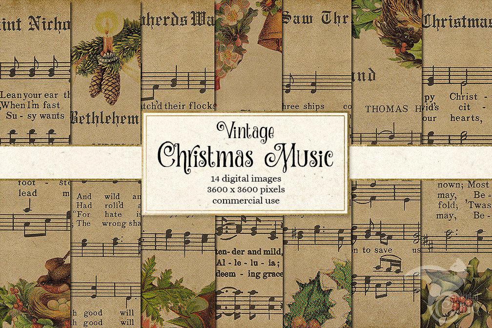 Vintage Christmas Music Digital Paper By Digital Curio