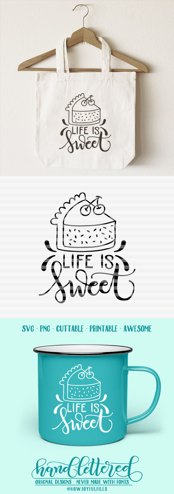 Life Is Sweet Svg Pdf Dxf Hand Drawn Lettered Cut File By Howjoyful Files Thehungryjpeg Com