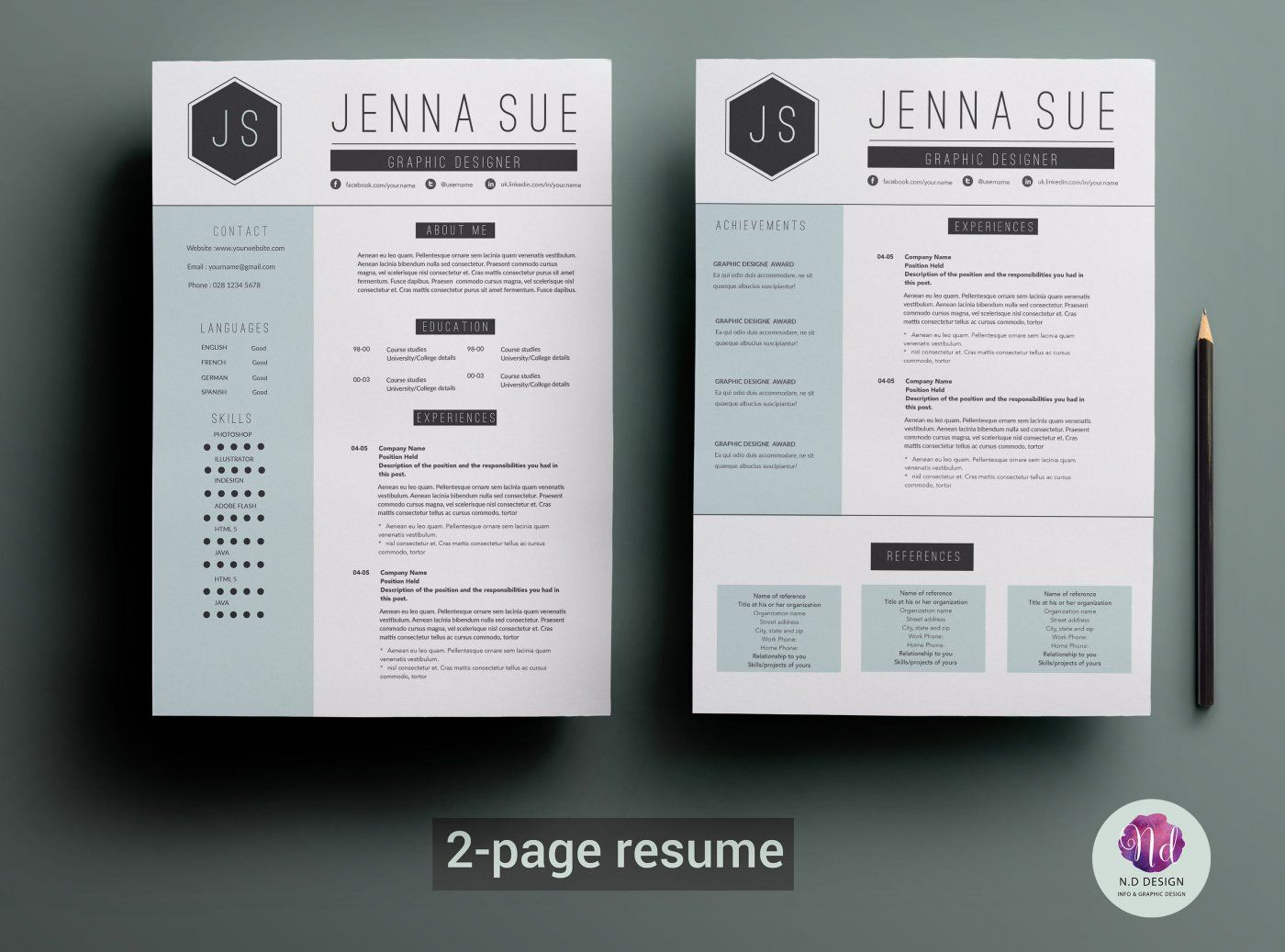 two page cv template by chic templates