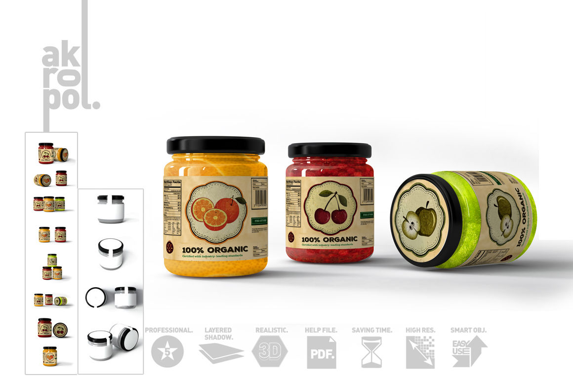 Download Container With Jam Mockup Yellow Images