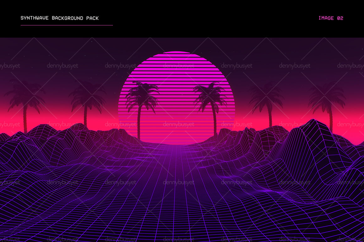 Synthwave Retrowave Background Pack By dennybusyet