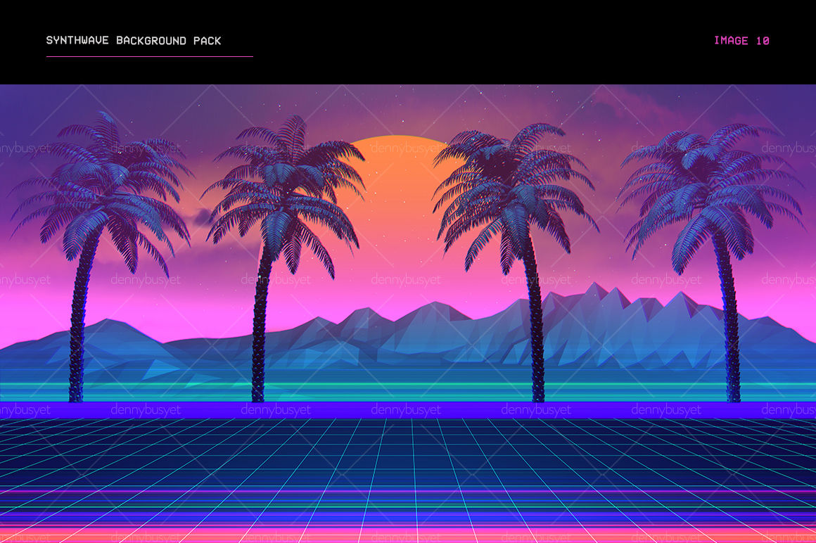 Synthwave Retrowave Background Pack By dennybusyet   TheHungryJPEG com