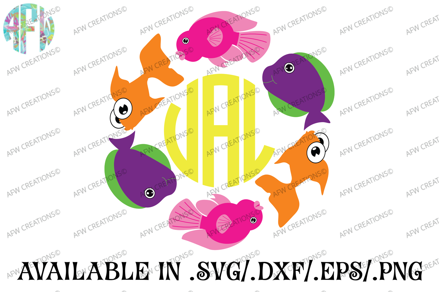 Tropical Fish Monogram Svg Dxf Eps Cut File By Afw Designs Thehungryjpeg Com